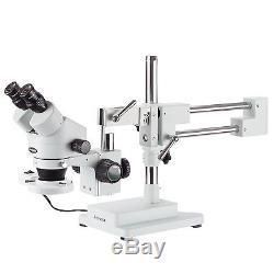 AmScope SM-4BX-FRL 3.5X-45X Binocular Stereo Boom Microscope + Ring Light
