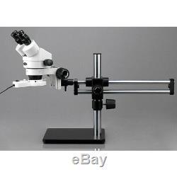 AmScope SM-5BZ 3.5X-90X Binocular Stereo Microscope on Ball Bearing Boom Stand