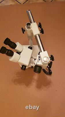 AmScope Zoom Binocular Stereo Microscope on Boom Stand with LED Light