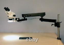 Amscope 7-45X Binocular Zoom Stereo LED Microscope Articulating-Arm Pillar-Clamp