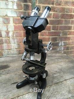 Antique High Power Binocular W Watson & Sons Stereo Microscope Bactil Para APO