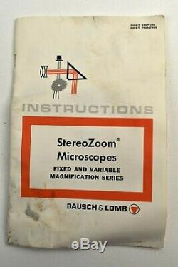 Bausch & Lomb Stereo Zoom Microscope 0.7x-3x Vintage 10 & 20x Eyepieces Black