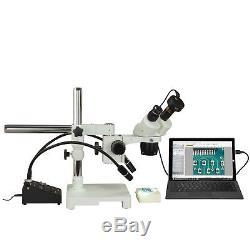 Binocular 10X-20X-40X-80X 1.3MP USB Stereo Boom Microscope+6W Gooseneck Light