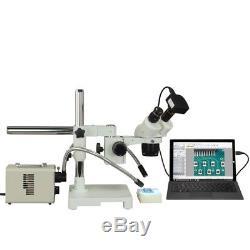 Binocular 10X-20X-40X-80X 14MP USB3 Stereo Boom Microscope+20W Dual Fiber Light