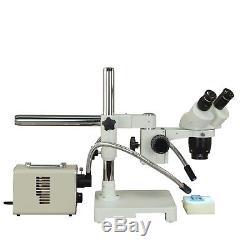 Binocular 10X-20X-40X-80X 18MP USB3 Stereo Boom Microscope+20W Dual Fiber Light