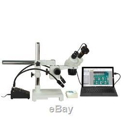 Binocular 10X-20X-40X-80X 5MP USB Stereo Boom Microscope+6W Gooseneck Light
