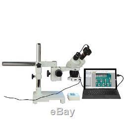 Binocular 10X-20X-40X 9MP Digital Stereo Boom Stand Microscope w 144 LED Light