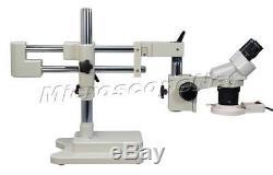 Binocular Stereo Microscope 20X-40X-80X Boom Stand w 8W Ring Light
