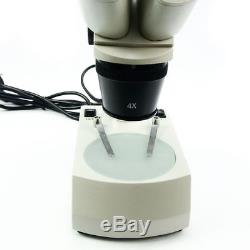 Binocular Stereo Microscope 2X 4X Objective with LED Lamp for Soldering Repairing
