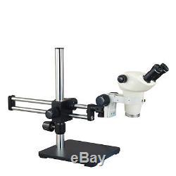Binocular Stereo Microscope Zoom 3X-50X with Ball Bearing Dual Bar Boom Stand