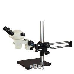 Binocular Stereo Microscope Zoom 6X-50X with Ball Bearing Dual Bar Boom Stand
