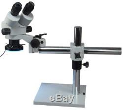 Boom Stand Binocular Zoom Stereo Microscope 7X-45X with 144 LED Light