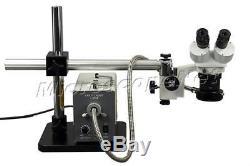 Boom Stand Stereo Binocular Microscope 10X-20X-30X-60X+150W Ring Fiber Light