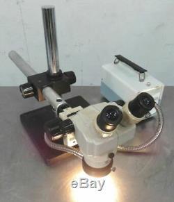 C156120 Nikon SMZ-1 Stereo Zoom Microscope 10X Eyepieces, Fiber Ring Light, Boom