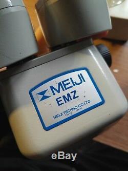 Japanese Meiji EMZ Stereo Microscope w all accessories mint in original foam box