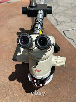 LEICA MZ6 STEREO MICROSCOPE With BOOM STAND, 1X OBJECTIVE ILLUMINATOR