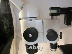 Leica Wild Heerbrugg stereo Microscope M8, 10x/21 eye pcs, double arm boom stand