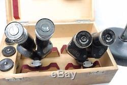 Leitz Wetzlar vintage Stereo Microscope outfit, Binocular heads objectives, case