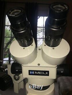 Meiji EMZ-5 SWF10X 7X-45X Mag Stereo Zoom Microscope withPBH Boom Stand+Light