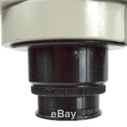 Meiji EMZ-5 Stereo Zoom Microscope + Boom Stand + Fiber Ring Light Refurbished