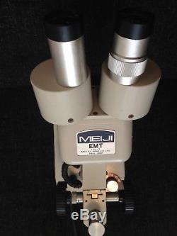 Meiji Emt Stereo Binocular Microscope Dual Illumination