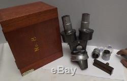 Microscope Binocular Stereo Head C. Baker mahogany Case T. Gerrard