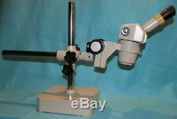 Nikon SMZ-1 zoom stereo microscope on boom stand with 10x eyepieces