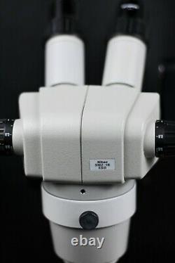 Nikon SMZ-1B ESD Stereo Zoom Microscope with Double Arm Boom Stand & Base, 10x/23