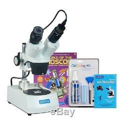 OMAX 10X-20X-30X-60X 1.3MP Camera Binocular Stereo Microscope+Cleaning Pack+Book