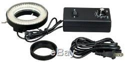 OMAX 10X-20X-30X-60X Binocular Stereo Microscope+Metal Shell 144 LED Ring Light