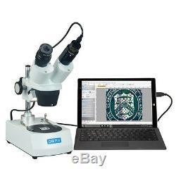 OMAX 10X-20X-30X-60X Binocular Student Stereo Microscope Dual Lights+USB Camera