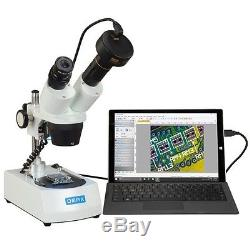 OMAX 10X-20X-30X-60X Dual LED Lights Binocular Stereo Microscope+1.3MP Camera