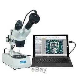OMAX 10X-20X-30X-60X Dual Lights Binocular Stereo Microscope+3MP Camera