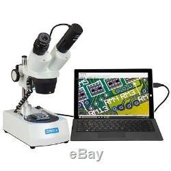 OMAX 10X-30X Binocular Cordless Stereo Microscope Dual LED Lights + USB Camera