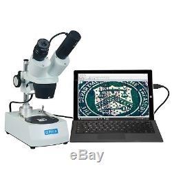 OMAX 10X-30X Binocular Student Stereo Microscope Dual Lights + USB Camera