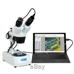 OMAX 10X-30X Cordless Binocular Stereo Microscope with LED Lights and USB Camera