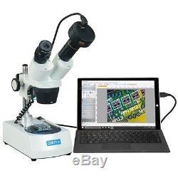 OMAX 10X-30X Cordless Dual LED Lights Binocular Stereo Microscope+3MP Camera