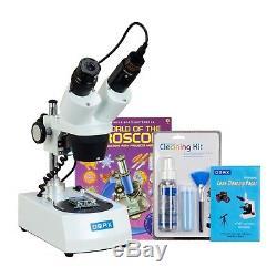 OMAX 20X-40X-80X Cordless Stereo Binocular Microscope+USB Camera+Clean Pack+Book