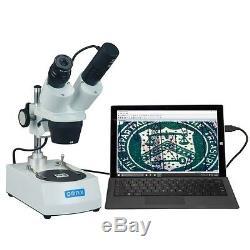 OMAX 20X-40X Binocular Stereo Microscope Dual Lights + USB Digital Camera