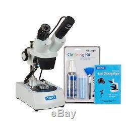 OMAX 20X-40X Cordless Dual LED Binocular Stereo Microscope+USB Camera+Clean Pack