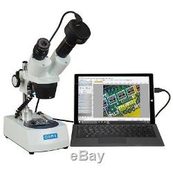 OMAX 20X-40X Cordless Dual LED Lights Binocular Stereo Microscope+3MP Camera
