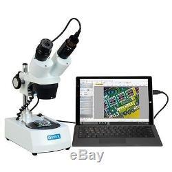 OMAX 20X-40X Student Cordless Dual LED Binocular Stereo Microscope+USB Camera