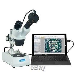 OMAX 20X-60X 1.3MP Digital Camera Binocular Stereo Student Microscope Two Lights