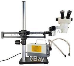 OMAX Binocular Stereo Microscope Zoom 6-50X+Boom Stand+150W Gooseneck Cold Light