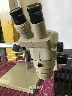 Olympus SZ40 Stereo Zoom Microscope, SZ-STB1 E-Arm on Boom Stand & 2 eyepieces