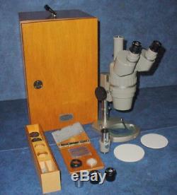 Olympus Tokyo SZ Stereo Binocular Teaching Microscope withWooden Storage Box