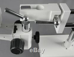 Parco 7X-45X Binocular Zoom Stereo Microscope, 10x Eyepieces, Dual Arm Boom Stand