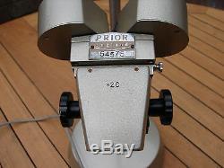 Prior Stereo Microscope Long Arm Binocular Illuminated 20x Articulated Head