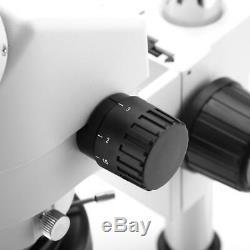 Quality 7X-45X Binocular Stereo Zoom Microscope Kit WF10X/20 Eyepieces 100-240V