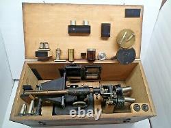 RARE CARL ZEISS JENA, Nr 44433 Binoculars Microscope Stereo Accessories Wood Box